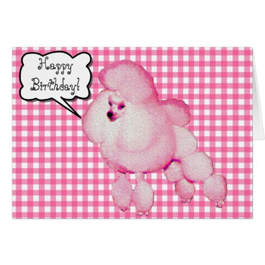 Retro Pink Poodle Gingham Birthday Greeting Card