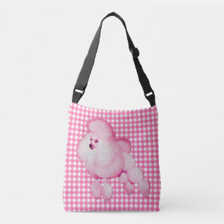 Retro Pink Poodle Gingham Cross Body Bag