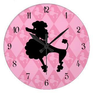Retro Pink Poodle Large Clock