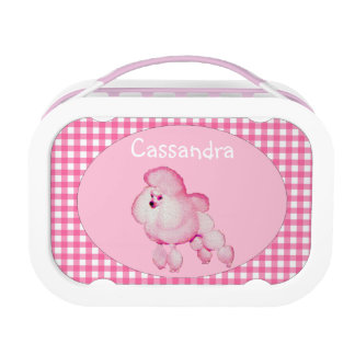Retro Pink Poodle Personalized Lunch Box
