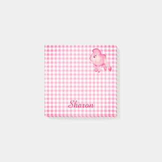 Retro Pink Poodle Personalized Post-it Notes