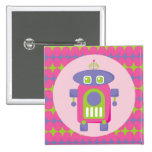 Retro Pink, Purple and Green Robot with Stars Buttons
