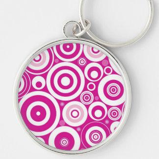 Retro Pink Purple Circles Pattern Keychain