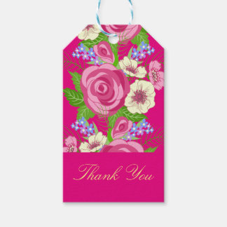 Retro Pink Roses White Blossoms Thank You