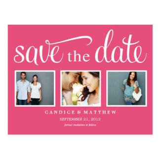 RETRO PINK | SAVE THE DATE ANNOUNCEMENT POSTCARD