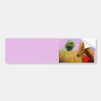 Retro pink sky Christmas Horse Car Bumper Sticker