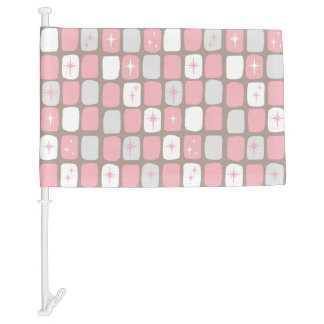 Retro Pink Starbursts Car Flag