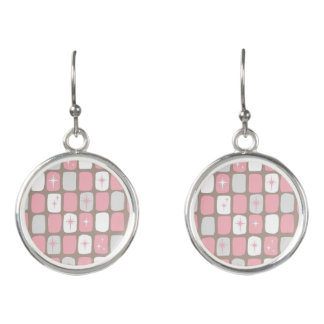 Retro Pink Starbursts Earrings