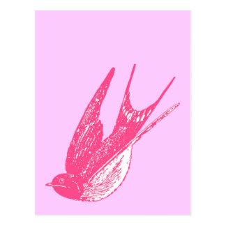 Retro Pink Swallow Postcard