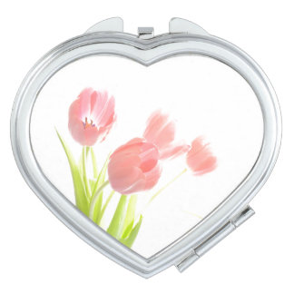 Retro pink tulip flower Compact Mirror