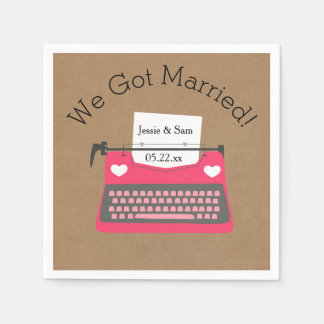 Retro Pink Typewriter Wedding Paper Napkins