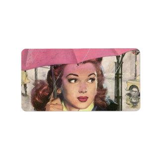 Retro Pink Umbrella Bridal Baby Shower Gift Labels