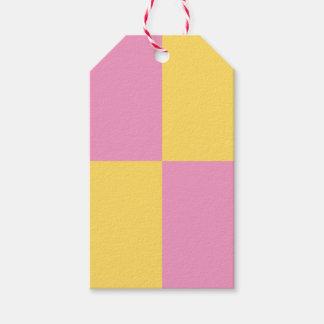 Retro Pink & Yellow Battenburg Cake Gift Tags
