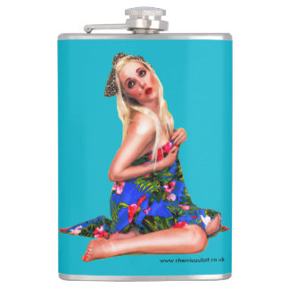 Retro Pinup Beach Girl Teal Hip Flask