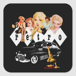 Retro Pinup Girls and a Hot Rod Square Stickers