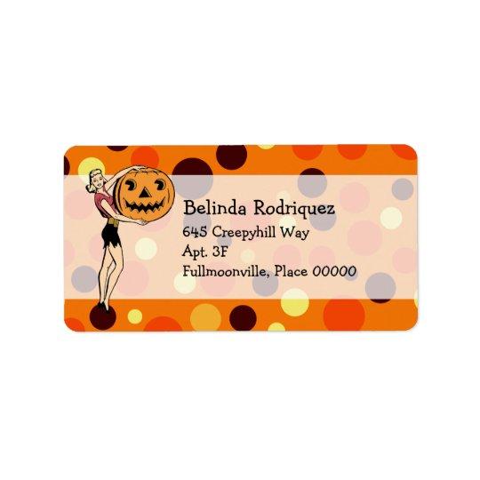 Retro PinUp Halloween Address Address Label