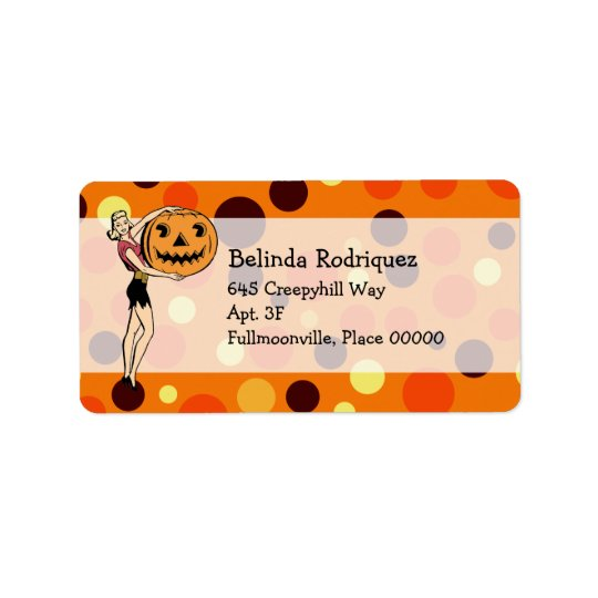 Retro PinUp Halloween Address Label