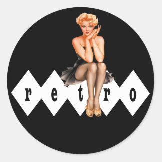 Retro Pinup Round Sticker