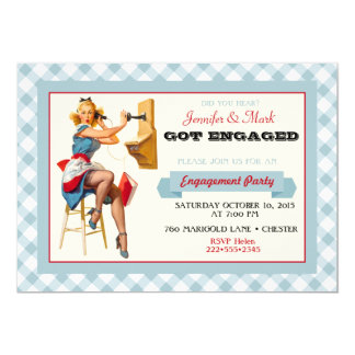 Retro Pinup Telephone Gingham Vintage Blue Red 13 Cm X 18 Cm Invitation Card