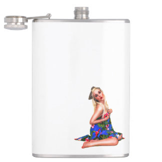 Retro Pinup Tropical Tiki Beach Girl White Hip Flask