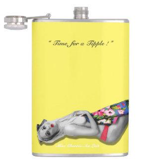 Retro Pinup Tropical Tiki Beach Girl Yellow Hip Hip Flask