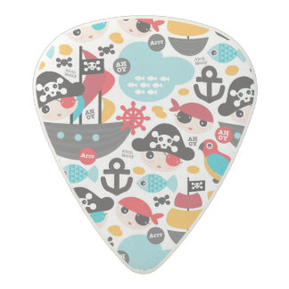 Retro pirates illustration sailing acetal guitar pick