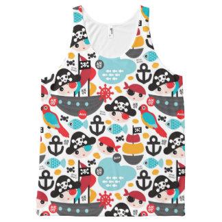 Retro pirates illustration sailing All-Over print tank top