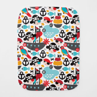 Retro pirates illustration sailing burp cloth