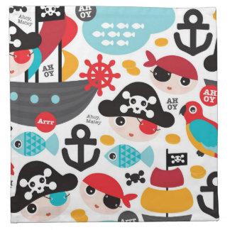Retro pirates illustration sailing napkin