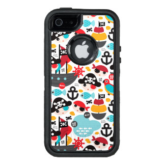 Retro pirates illustration sailing OtterBox defender iPhone case