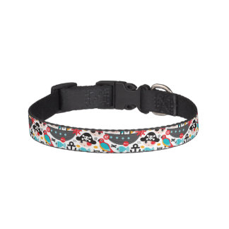 Retro pirates illustration sailing pet collar