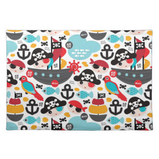 Retro pirates illustration sailing placemat