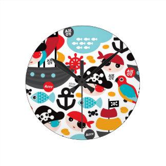 Retro pirates illustration sailing round clock
