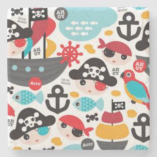 Retro pirates illustration sailing stone coaster