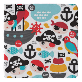 Retro pirates illustration sailing trivet