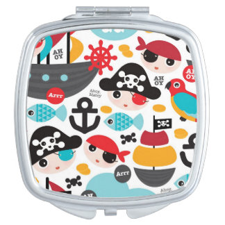 Retro pirates illustration sailing vanity mirrors