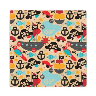 Retro pirates illustration sailing wood coaster