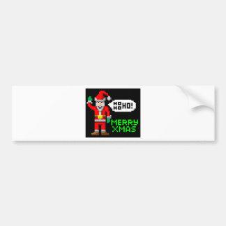 Retro pixel art Christmas Santa Bumper Stickers