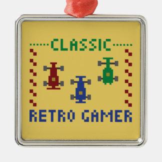 Retro Pixel Race Silver-Colored Square Decoration