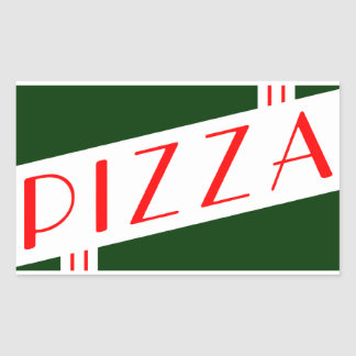 retro pizza rectangular sticker