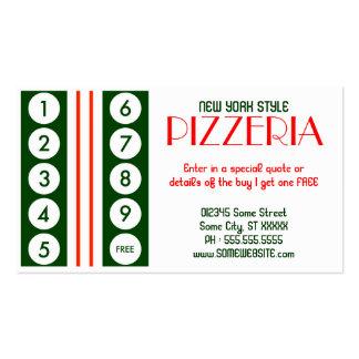 retro pizzeria customer loyalty business card templates