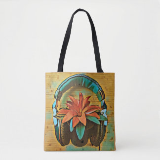 Retro plant wearing headphones tote bag