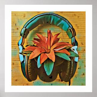 Retro plant with headphones poster