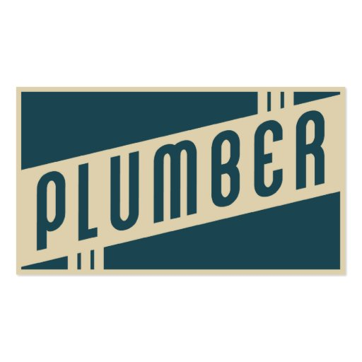 retro plumber business cards