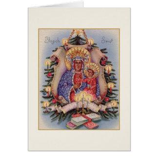 Retro Polish Religious Częstochowa Christmas Card