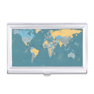 Retro Political Map of the World Business Card Holder