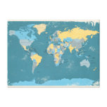 Retro Political Map of the World Stretched Canvas Print