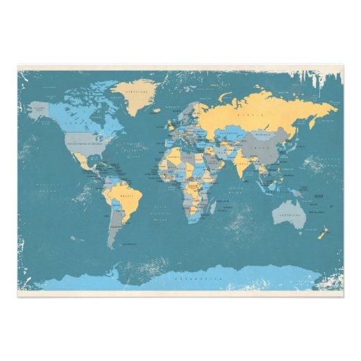 Retro Political Map of the World Custom Announcement