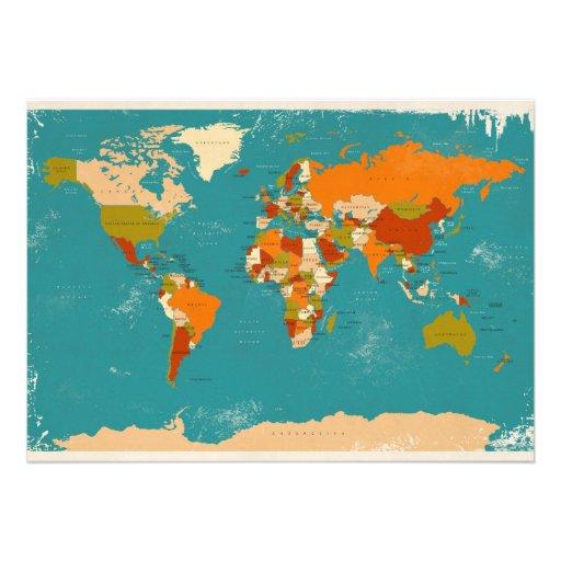 Retro Political Map of the World Invite