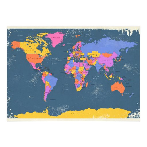 Retro Political Map of the World Announcements